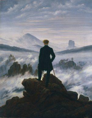 Caspar David Friedrich, Wanderer above the  Sea of Fog, around 1817, Hamburger  Kunsthalle © SHK  / Hamburger Kunsthalle / bpk / Elke  Wal-ford