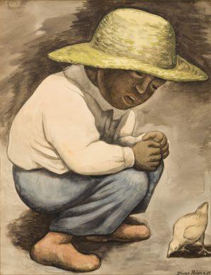 Diego Rivera, Bambino con pulcino, 1935, disegno a carboncino e acquarello, Collezione Museo de Arte del Estado de Veracruz
