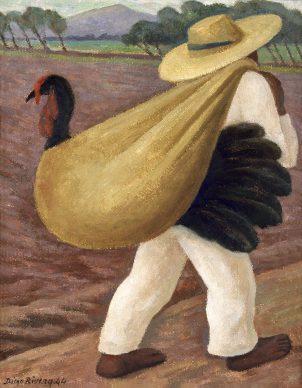 Diego Rivera, Contadino che porta un tacchino, 1944, olio su tavola, tempera su masonite, Collezione Museo de Arte del Estado de Veracruz