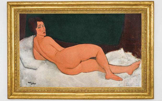 Amedeo Modigliani, Nu couché (sur le côté gauche), 1917. Courtesy of Sotheby's