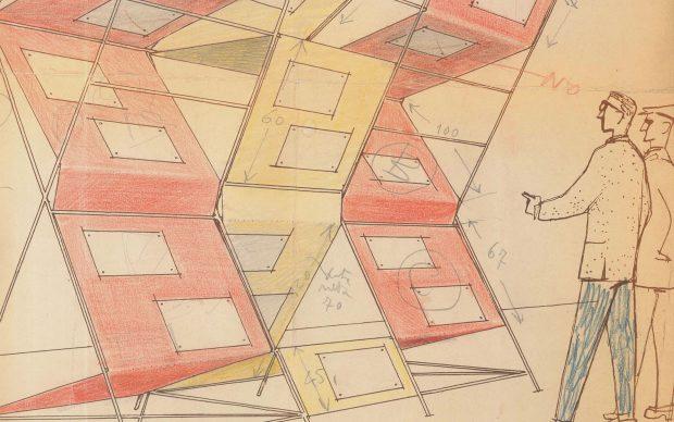 Elemento pubblicitario per Padiglione Agip Eni alla Mostra Internazionale del Petrolio Fiera di Napoli 1955 Progetto allestimento Achille e Pier Giacomo Castiglioni