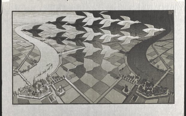 M. C. Escher, Day and Night, 1938, Boston Public Library