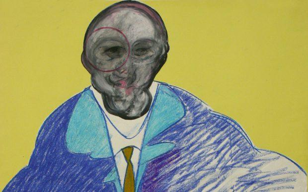 Francis Bacon, Figura seduta, 1992, pastello e collage su carta