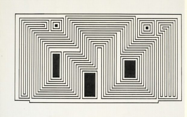Josef Albers (1888-1976) Study for Sanctuary, ca. 1941–42 Ink on paper 17 x 22 inches (43.2 x 55.9 cm) The Josef and Anni Albers Foundation X.2016.10933
