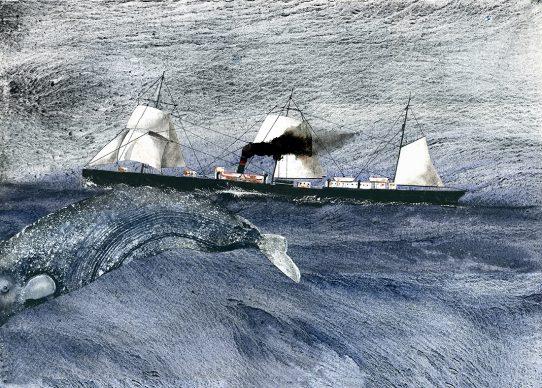 Giorgio Maria Griffa, Anchoria, british steamer, acquarello e collage su carta, 2016