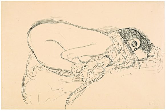 Gustav Klimt, Female Semi-Nude from the Right in Kneeling-Cowering Position. Study for »Leda«, 1913/14 © Leopold Museum, Vienna, Inv. 1375