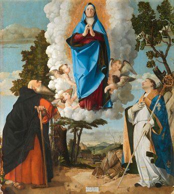 Lorenzo Lotto, Assumption of the Virgin with Saints Anthony Abbot and Louis of Toulouse, 1506, Asolo, Chiesa propositurale e collegiata di Santa Maria Assunta