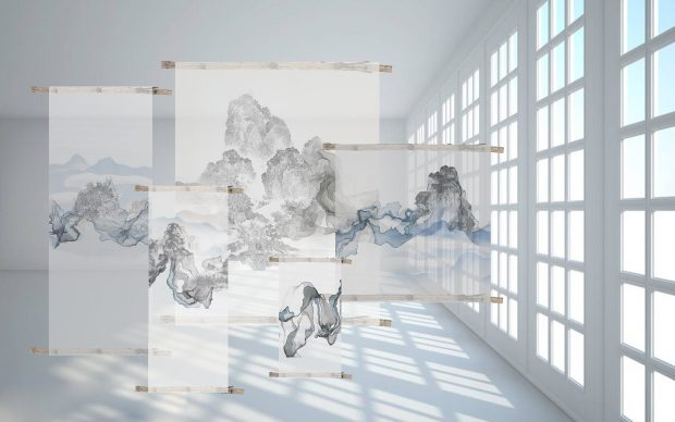 Liang Zhiyin, A floating dream, garza di seta, georgette, tintura, incisione, collage