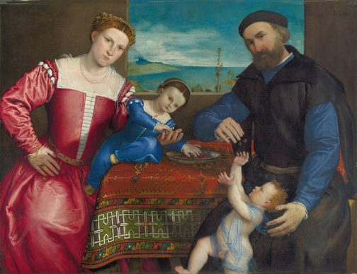 Lorenzo Lotto, Portrait of Giovanni della Volta with his Wife and Children, 1547, London, National Gallery, Bequeathed by Miss Sarah Solly