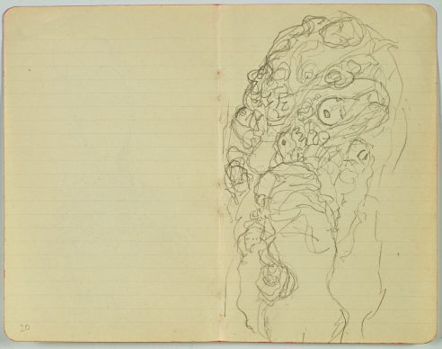 """Gustav Klimt, SKETCH FOR THE LEFT GROUP OF FIGURES IN THE PAINTING """"THE BRIDE"""" (PAGE 22 IN THE ARTIST'S LAST SKETCHBOOK) 