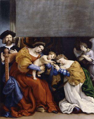 Lorenzo Lotto, Mystic Marriage of Saint Catherine with donor Nicolò Bonghi, 1523, Bergamo, Accademia Carrara - Pinacoteca di Arte Antica