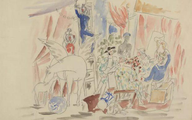 Pablo Picasso, Projet pour le rideau de scène du ballet Parade,[1916-1917] Crayon graphite et aquarelle sur papier Musée national Picasso-Paris Dation Pablo Picasso, 1979,