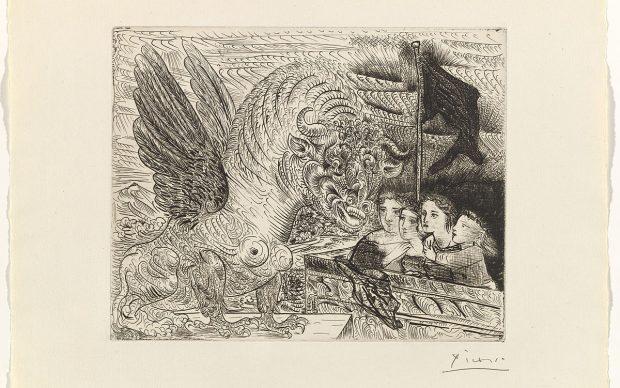 Pablo Picasso, Taureau ailé contemplé par quatre enfants, The Vollard Suite, dicembre 1934