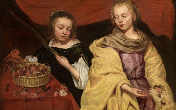 Michaelina Wautier, Twee meisjes als de heiligen Agnes en Dorothea (c) lukasweb - Art in Flanders vzw