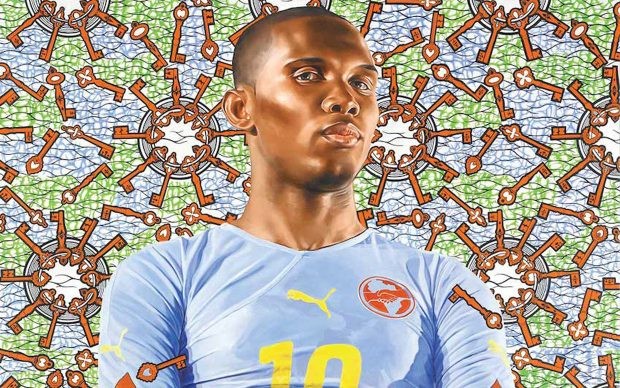 Kehinde Wiley, 1977, Los Angeles; lives in New York and Beijing, Samuel Eto'o, 2010, Oil on canvas 72 x 60 inches. Private collection. Courtesy the artist and Roberts Projects, Los Angeles