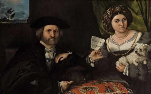 Lorenzo Lotto, Ritratto matrimoniale (Giovanni Maria Cassotti e Laura Assonica?), c. 1523 – 1524, San Pietroburgo, The State Hermitage Museum