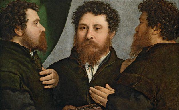 Lorenzo Lotto, Triple portrait of a goldsmith, c. 1525 - 1535, Vienna, Kunsthistorisches Museum, Gemäldegalerie