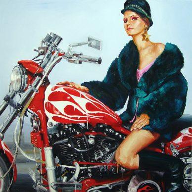 Ida Tursic & Wilfried Mille, La Motocycliste, 2001. Olio su tela, 150x150 cm. Collezione privata, Parigi. Courtesy Galleria Alfonso Artiaco, Napol