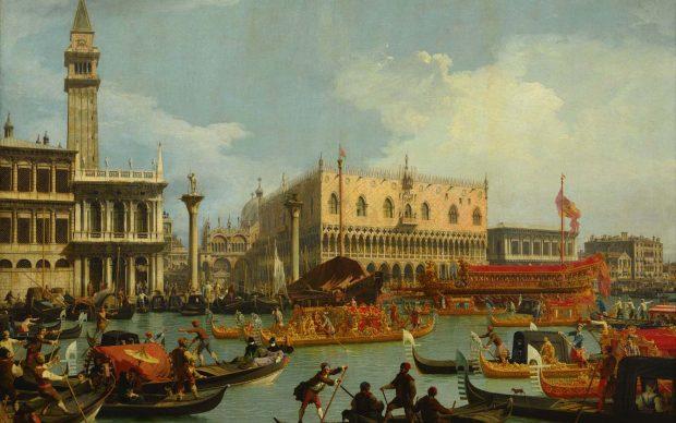 Canaletto Il ritorno del Bucintoro al molo davanti al Palazzo Ducale 1727-1729 Olio su tela 182 x 259 cm Mosca, Museo Pushkin