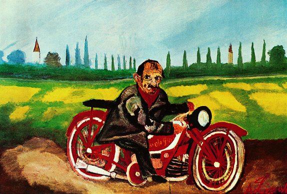 Antonio Ligabue, Autoritratto sulla moto, 1953. Olio su faesite, 39x57 cm. Collezione privata, Parma