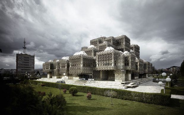 Andrija Mutnjaković. National and University Library of Kosovo. 1971–82. Prishtina, Kosovo. Exterior view. Photo: Valentin Jeck, commissioned by The Museum of Modern Art, 2016