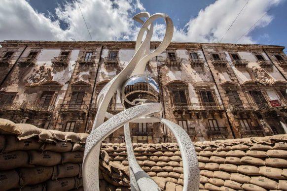 Gianfranco Meggiato, La spirale della vita, veduta dell'installazione a Palermo, 2018
