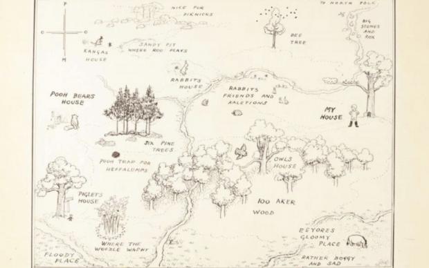 Bosco dei 100 Acri mappa illustrazione Winnie the Pooh record asta Sotheby