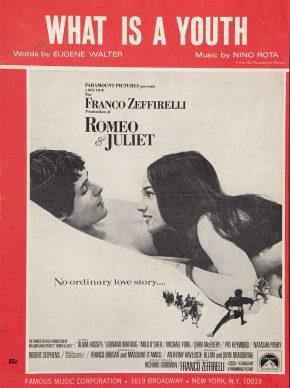 Copertina della partitura originale della canzone What is a Youth, contenuta nella colonna sonora del film Romeo e Giulietta di Franco Zeffirelli, 1968