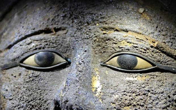 The Saqqara Mask of the Second Priest of Mut and Priest of Niut-shaes, details of eye inlay. Photo by University of Tübingen, Ramadan B. Hussein.