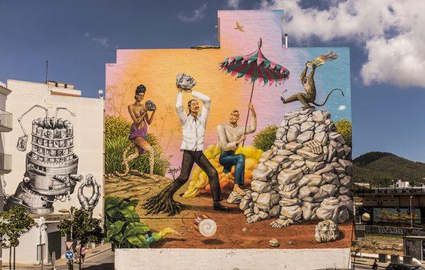 Phlegm & AEC Interesni Kazki, BLOOP International Proactive Art Festival 2013-2016, Ibiza (Photo by Marc Colomines)