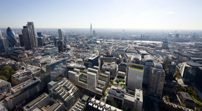 CGI Aerial view showing London Wall Place in city context. Photo credit: Cityscape