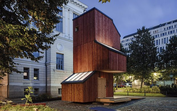 Kokoon, modular wooden living unit designed and constructed by Aalto University Wood Program in Architecture and Design