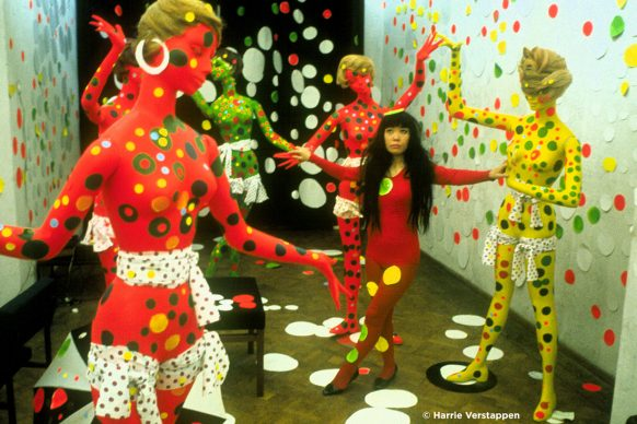 Artist Yayoi Kusama in the Orez Gallery in the Hague, Netherlands (1965) in KUSAMA - INFINITY. Photo credit: © Harrie Verstappen. Photo courtesy of Magnolia Pictures.
