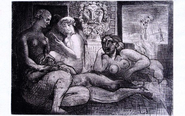 Pablo Picasso Four Nude Women and a Sculpted Head, from: La Suite Vollard | Quatre Femmes Nues et Tête Sculptée, 1934 Original Hand Signed Etching and Drypoint on Montval Laid Paper with Vollard Watermark 45.1 x 34.5 cm. / 17.5 x 13.6 in. Courtesy Gilden's Art Gallery