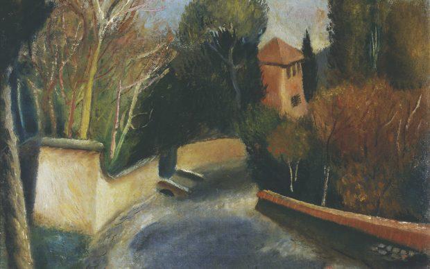 Mario Mafai Street with Red House ( Strada con casa rossa ), 1928 Oil on canvas, 38 x 38.5 cm