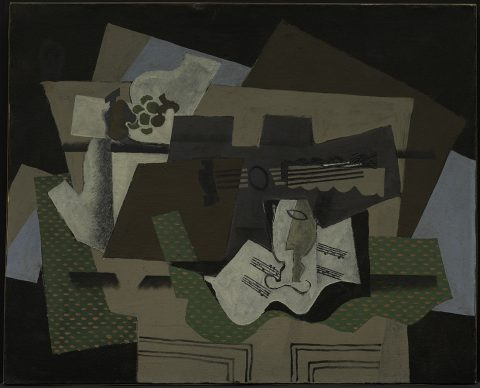 Georges Braque, Guitar, Glass, and Fruit Dish on Sideboard (Guitare, verre et compotier sur un buffet), early 1919. Solomon R. Guggenheim Museum, New York Thannhauser Collection, Gift, Justin K. Thannhauser Foundation, by exchange 81.2821 © Georges Braque, VEGAP, Bilbao, 2018 Photo: © Solomon R. Guggenheim Foundation, New York (SRGF)