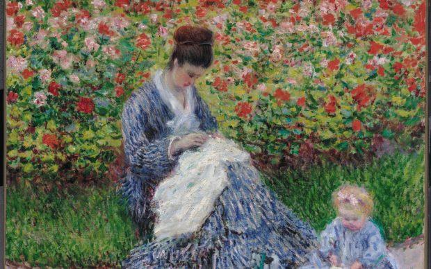 Claude Monet, Camille Monet e bambino nel giardino dell'artista ad Argenteuil