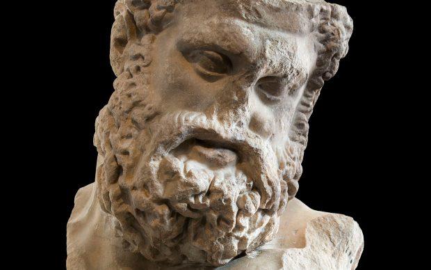 Testa colossale di Ercole in riposo (tipo Farnese), copia marmorea romana della seconda metà del I secolo a.C. di un'opera di Lisippo risalente al 320/310 a.C. circa., Antikenmuseum Basel und Sammlung Ludwig