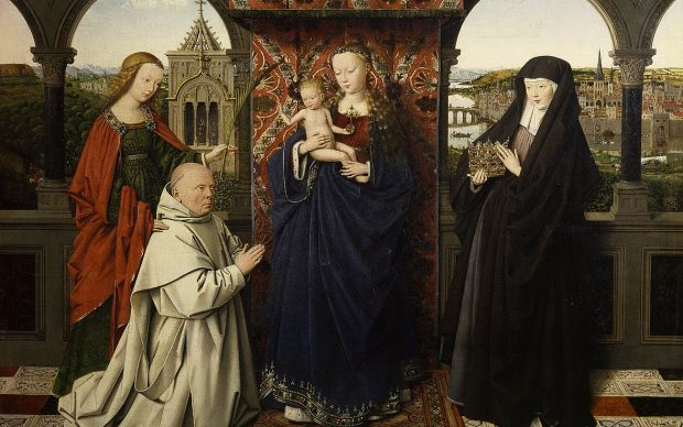 Jan van Eyck and Workshop The Virgin and Child with St. Barbara, St. Elizabeth, and Jan Vos, ca. 1441–43 Oil on panel 18 5/8 × 24 1/8 inches The Frick Collection, New York Photo: Michael Bodycomb