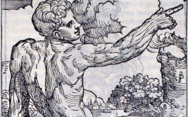 Muscoli in torsione, in Berengario da Carpi, Isagogae breves, Bologna 1523, Illustrazione xilografica, Biblioteca multimediale Loria, Carp