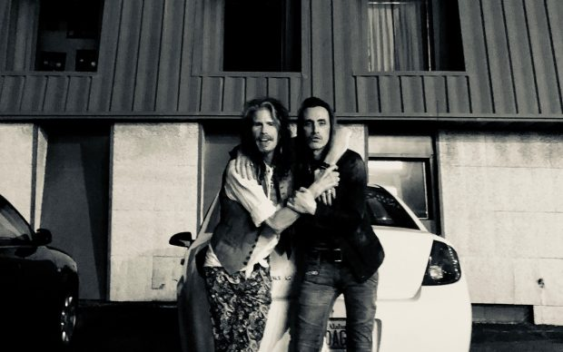 Steven Tyler & Nuno Bettencourt outside of FAME Recording Studios (PRNewsfoto/Dreamlined Entertainment,BMG)