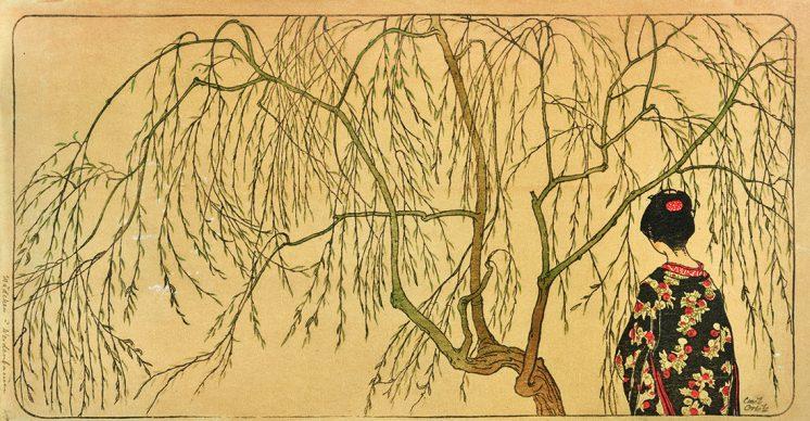 Emil Orlik, Japanisches Mädchen unterm Weidenbaum, 1901, Sammlung Dr. Eugen Otto, Wien