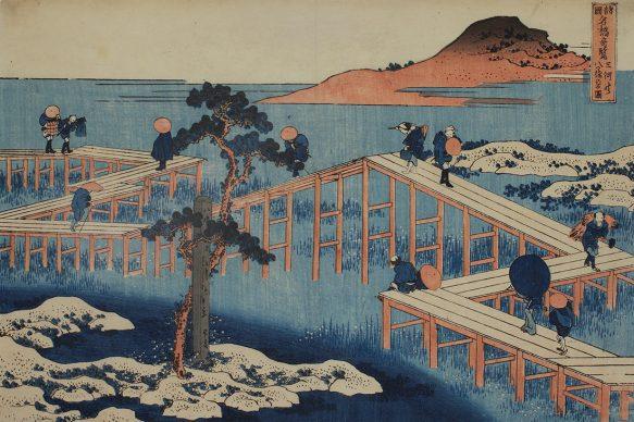 Katsushika Hokusai, Seltene Ansichten berühmter Brücken in verschiedenen Provinzen: Die achtteilige Brücke bei Mikawa, um 1831/32, Privatsammlung, Wien