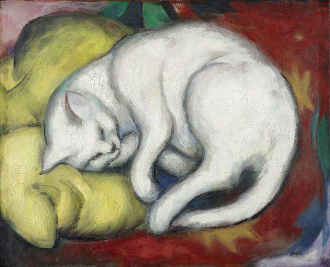 Franz Marc, Die weiße Katze, 1912, Kunstmuseum Moritzburg Halle (Saale), Kulturstiftung Sachsen-Anhalt  © Foto: Punctum/Bertram Kober