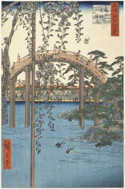 Utagawa Hiroshige, Kameido. L'area antistante il santuario Tenjin  dalla serie Cento vedute di luoghi celebri di Edo, 1856, Museum of Fine Arts, Boston - Gift of Dr. G. S. Amsden
