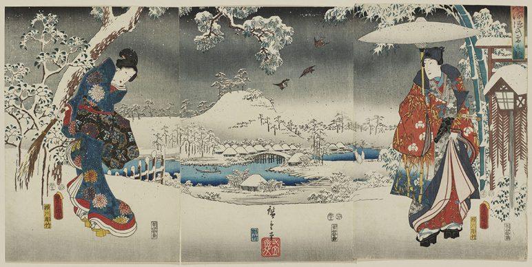 Utagawa Hiroshige e Utagawa Kunisada, Veduta con la neve, 1853, Museum of Fine Arts, Boston - Gift of Miss Lucy T. Aldrich