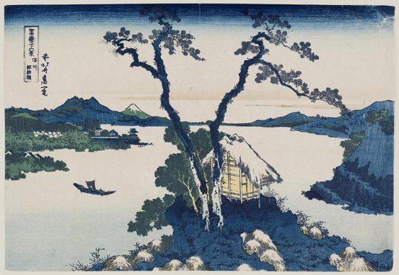 Katsushika Hokusai, Lago Suwa nella provincial di Shinano  dalla serie Trentasei vedute del monte Fuji, 1830-31, Museum of Fine Arts, Boston - William Sturgis Bigelow Collection