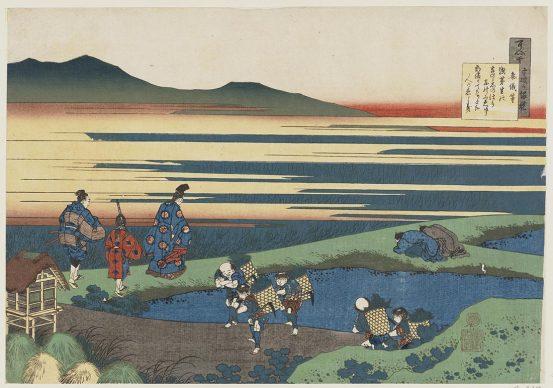 Katsushika Hokusai, Poema di Sangi Hitoshi  dalla serie Cento poesie per cento poeti in racconti illustrati della balia, 1835-36, Museum of Fine Arts, Boston - William Sturgis Bigelow Collection