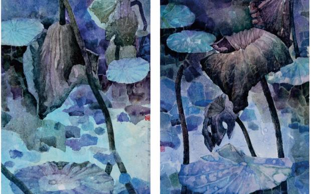 Fiore di loto, 39x54cm, Colorazione su carta, Yang Kaiyan