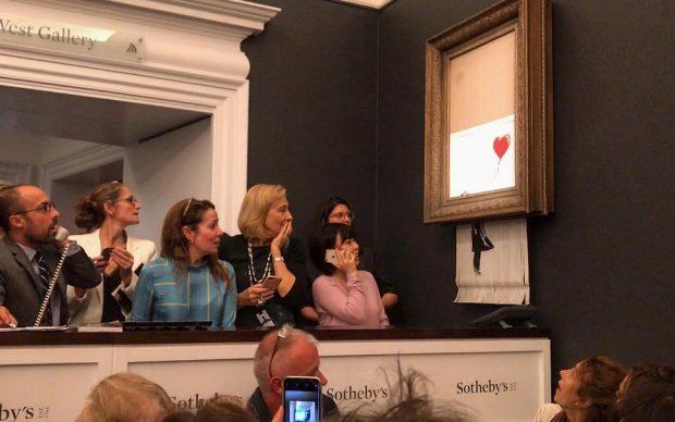 Banksy Bambina pallone autodistrutta Sotheby's asta
